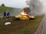 Luksusowe lamborghini stanęło w płomieniach na A1 [zdjęcia]