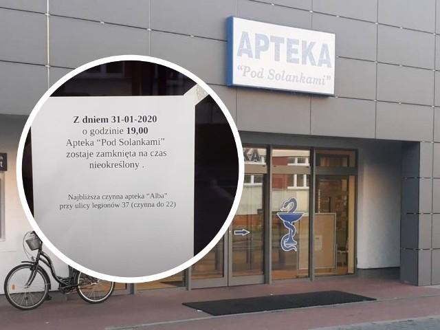 Całodobowa Apteka pod Solankami przy szpitalu w Grudziądzu nie działa od końca stycznia 2020 roku.