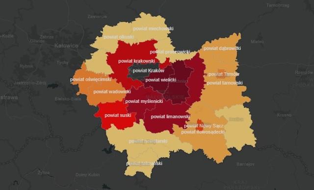 Mapa koronawirusa w Małopolsce. W których powiatach jest najwięcej zakażeń? Skąd są ofiary śmiertelne? [MAPA POWIATÓW]
