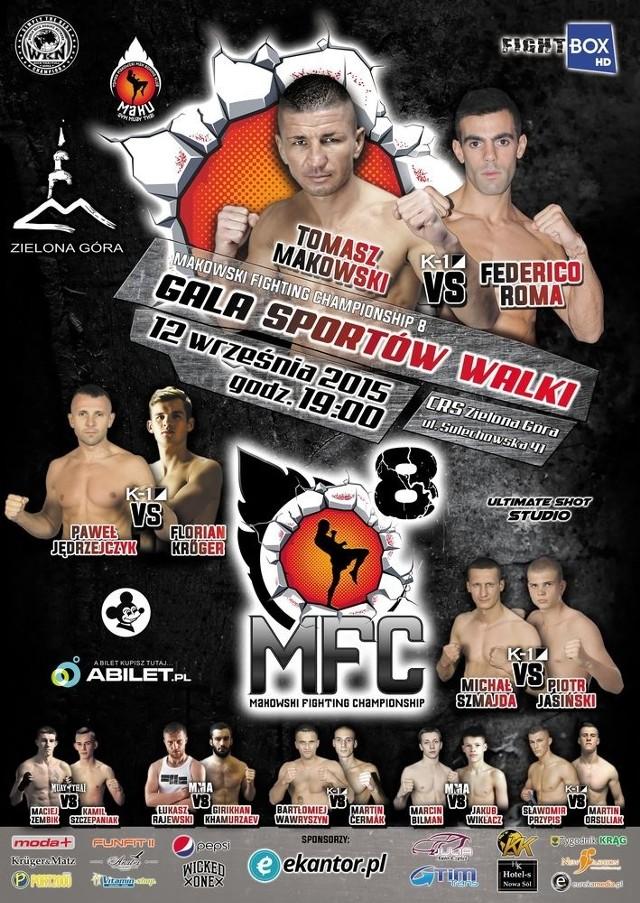 Oficjalny plakat gali MFC 8 Makowski Fighting Championship w Zielonej Górze.