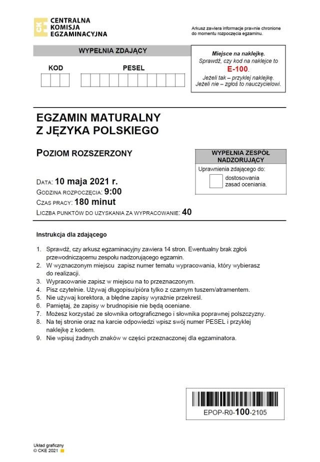 Matura 2021: język polski, poziom rozszerzony. ARKUSZ CKEODPOWIEDZI - matura polski rozszerzony >>>