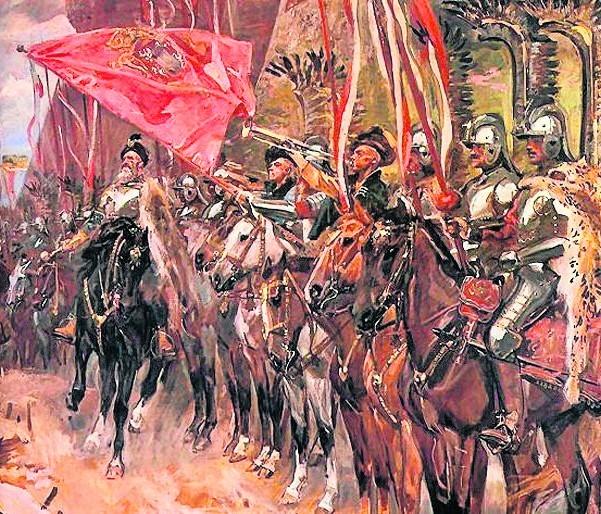 """Fragment obrazu """"Hetman Żółkiewski z husarią"""" Wojciecha Kossaka. Hetman w 1610 r. zajął na dwa lata Moskwę."""