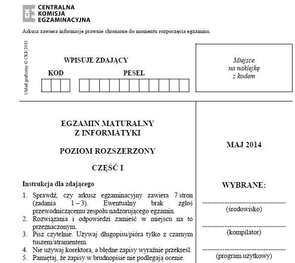 MATURA 2014 INFORMATYKA (P. PODSTAWOWY) ARKUSZ CKE