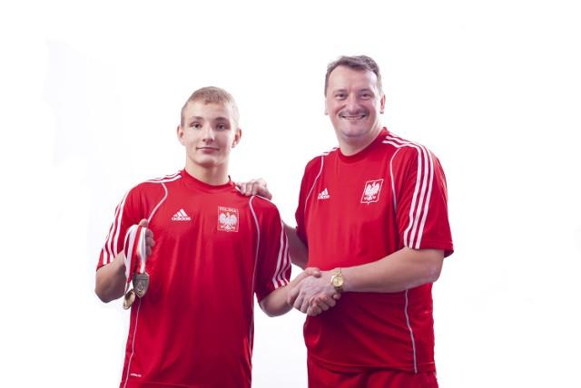 Dawid Klimek (z lewej) z trenerem Hieronimem Kurysiem