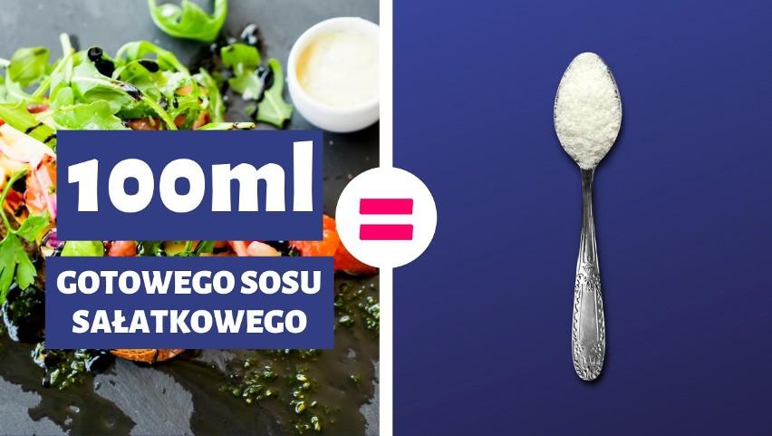 100 ml gotowego sosu sałatkowego = 1 łyżeczka cukru...