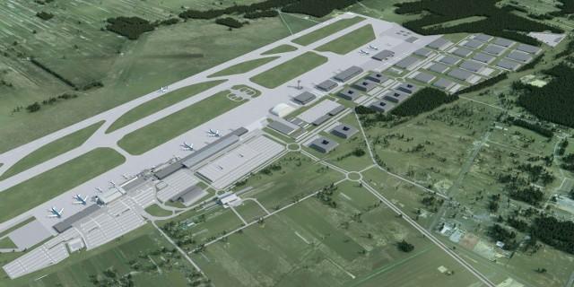 Na wizualizacji: lotnisko po rozbudowie. Widać m.in. stację kolei do Katowic (po lewej) tuż przed terminalami