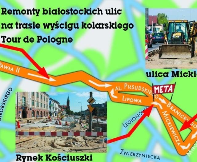 Na trasie trzeciego etapu wyścigu Tour de Pologne prowadzone są obecnie trzy duże remonty ulic. Jeżeli drogowcy zdążą tam ułożyć asfalt, kolarze będą jechać po bardzo dobrych drogach. Gorzej, jeśli nie uda się zakończyć prac w ciągu niespełna miesiąca.