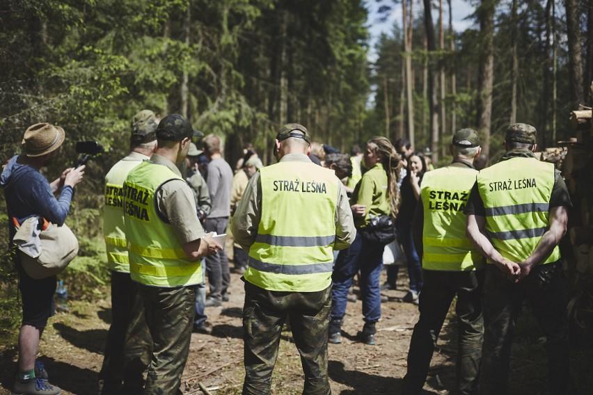 Protestujący w Puszczy Białowieskiej przywiązywali się do...