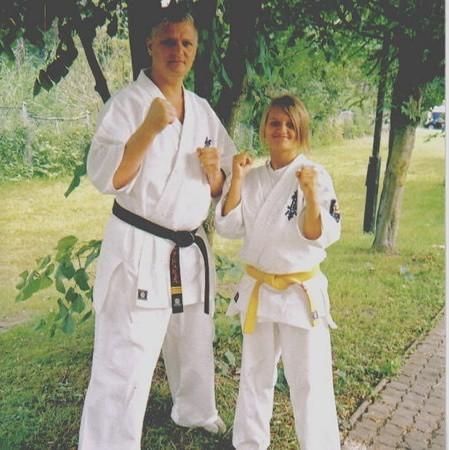 Nikola Dubiel wraz ze swoim trenerem w kadrze województwa Eliaszem Madejem