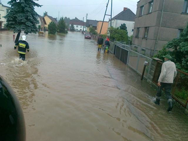 Tak wyglądały Dobieszowice w ubiegły piątek po przejściu ulewy.