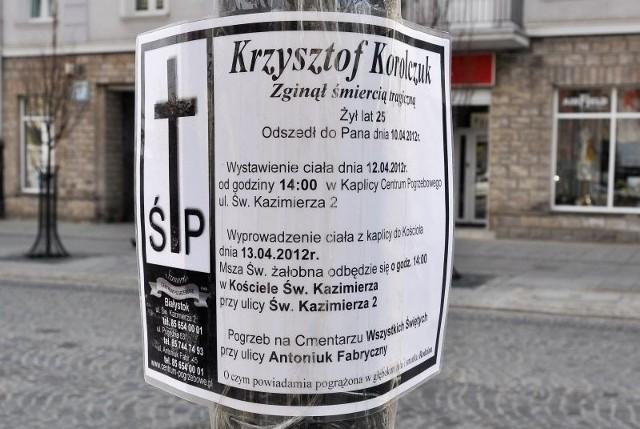 Krzysztof zostanie pochowany w piątek. Informacja o uroczystości pojawiła się przed klubem Prognozy.
