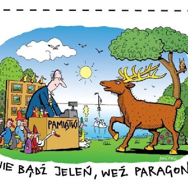 """Oto plakat  z rysunkiem Andrzeja Mleczki, promującym akcję """"Weź paragon"""""""