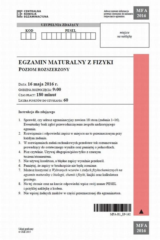 MATURA 2016. MATURA ARKUSZE CKE FIZYKA, MATURA Z FIZYKI, MATURA 16 05, FIZYKA ARKUSZE CKE