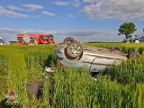 Dachowanie pod Byczyną. Wypadek na drodze Wojsławice - Nasale [ZDJĘCIA]