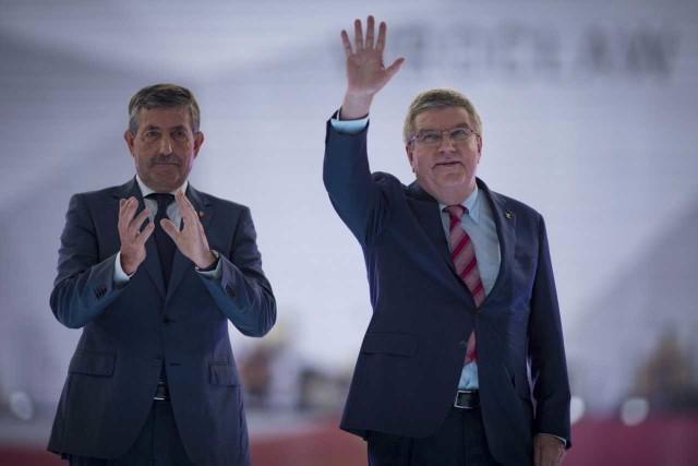 Jose Perurena (z lewej) oraz przewodniczący Międzynarodowego Komitetu Olimpijskiego Thomas Bach brali udział m.in. w ceremonii otwarcia The World Games 2017.