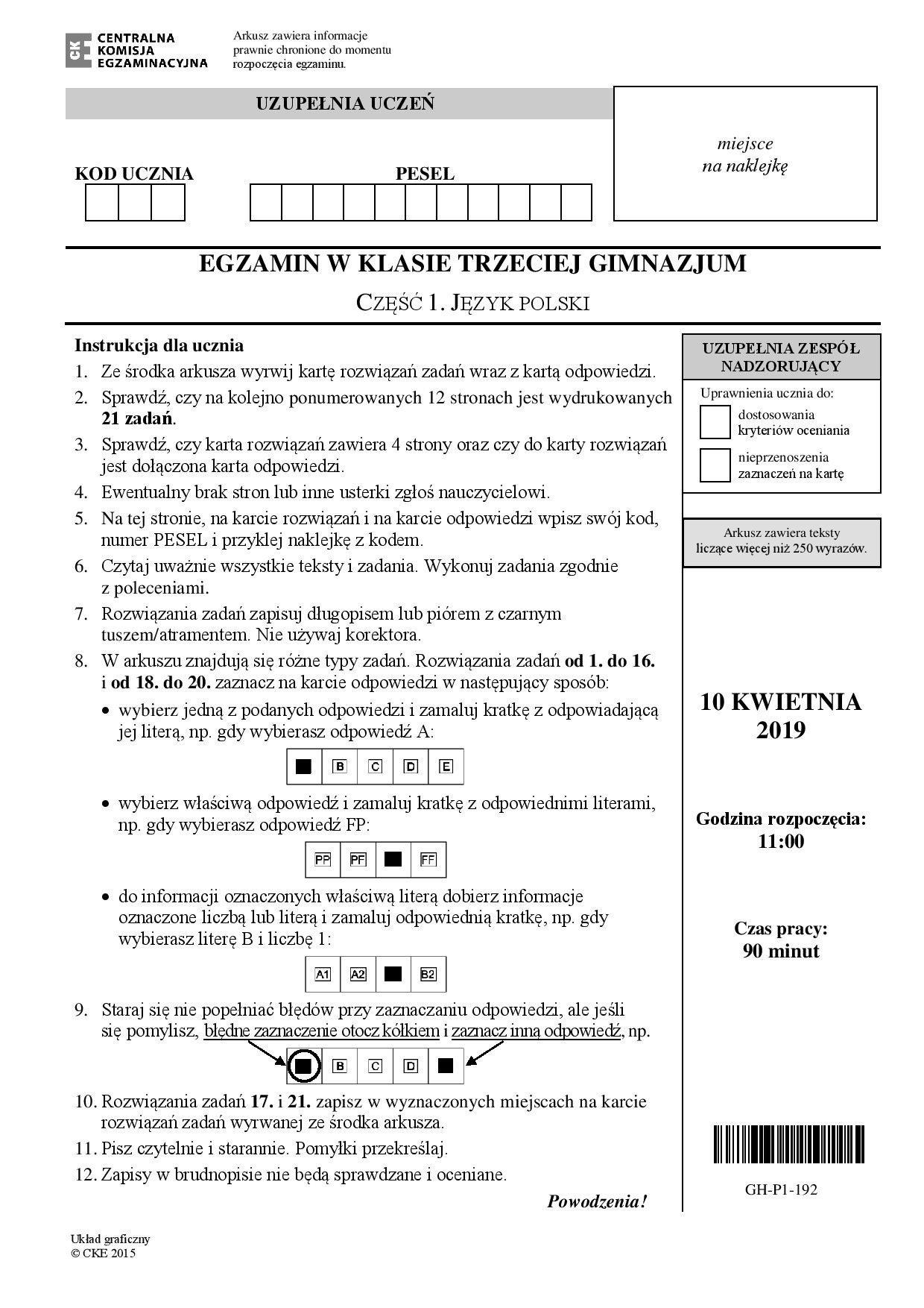 egzamin gimnazjalny odpowiedzi matematyka