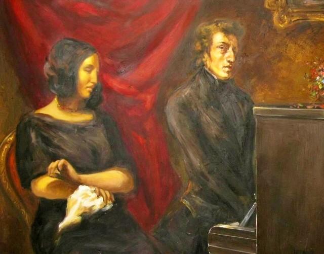 George Sand i Fryderyk Chopin na obrazie autorstwa Eugène Delacroix. O parze można przeczytać w nowej powieści biograficznej