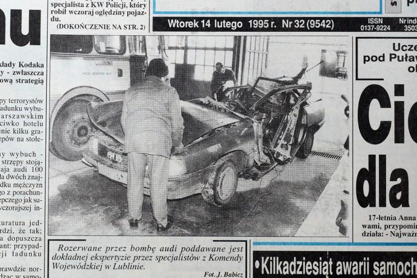 Kurier Lubelski z 1995 roku. Rozerwane przez bombę audi