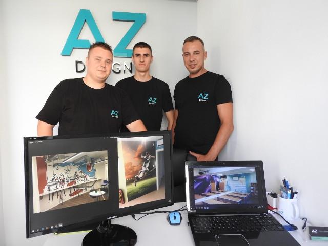 Od lewej: ekipa podstawowa AZ Design czyli Jakub Masłowski, Daniel Matejczyk i Krzysztof Karmasz.