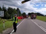 Podkamionka. Śmiertelny wypadek motocyklisty zablokował drogę krajową nr 19. Mężczyzna zmarł mimo reanimacji (zdjęcia)