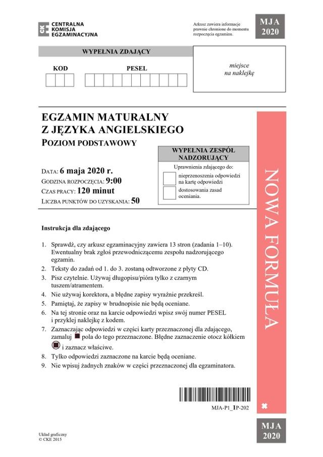 Matura z angielskiego poziom podstawowy + transkrypcja