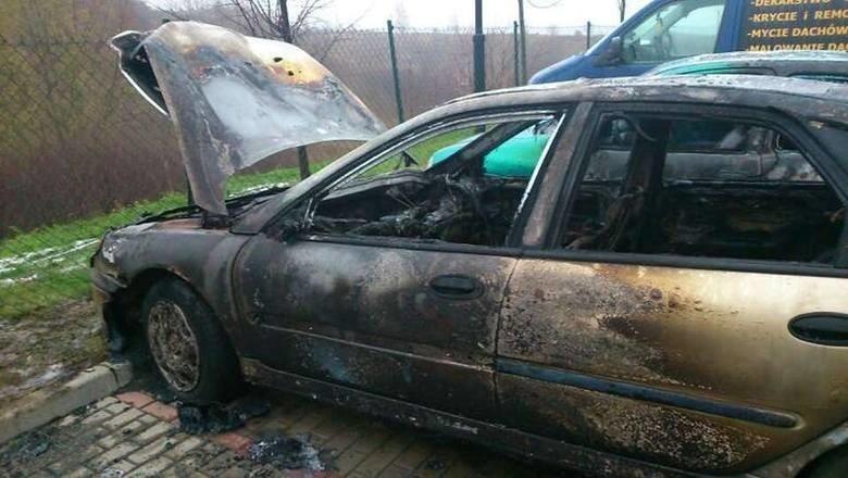 Pożar samochodu w Kościerzynie