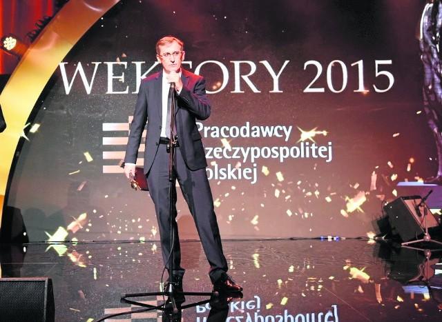 Wektor 2015 dla Andrzeja Przybyło, założyciela ABAndrzej Przybyło, założyciel i prezes firmy AB podczas gali wręczenia nagród Organizacji Pracodawców Rzeczypospolitej Polskiej Wektory 2015