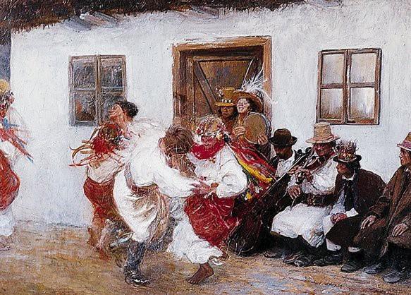 """Teodor Axentowicz """"Kołomyjka"""". Ten obraz w wiele innych można zobaczyć w Ratuszu na wystawie """"Legendarna Młoda Polska. Malarstwo polskie przełomu XIX i XX wieku""""."""
