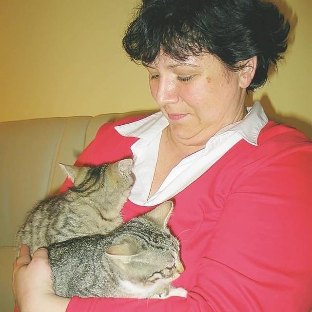 Te kocięta są znalezione na działkach. Są chore, co drugi dzień córka pani Ireny (na zdjęciu) chodzi z nimi do weterynarza.
