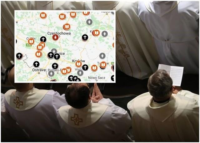 """Mapa kościelnej pedofilii w Polsce została przygotowana przez fundację """"Nie lękajcie się"""". Z informacji zebranych przez aktywistów dowiadujemy się o liczbie zgłoszeń zawierających skazanych sprawców, ofiar księży i doniesień medialnych. Na razie na mapie zaznaczono 259 ofiar i tylko 63 sprawców z wyrokami sądowymi."""
