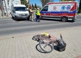 Wypadek w Przemyślu. Na ul. Bohaterów Getta ukraiński bus potrącił kobietę na rowerze [ZDJĘCIA]
