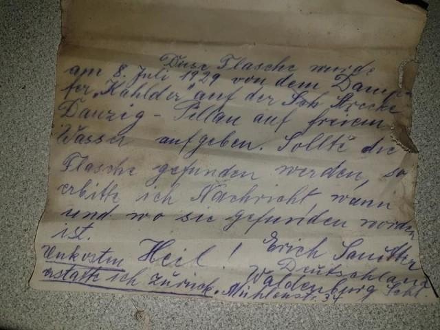"List w butelce autorstwa Ericha Sanittera ""szukał"" adresata przez 90 lat"