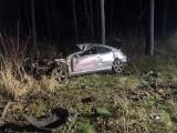 Wypadek w Krzyżowcu niedaleko Leszna. Samochód kierowany przez 19-latka wpadł do rowu - dwie osoby zostały ranne