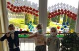 """Kazimierska """"jedynka"""" w świątecznych szatach. Okna stroi biało-czerwona flaga z kwiatów. Jest też patriotyczny wiersz [ZDJĘCIA]"""