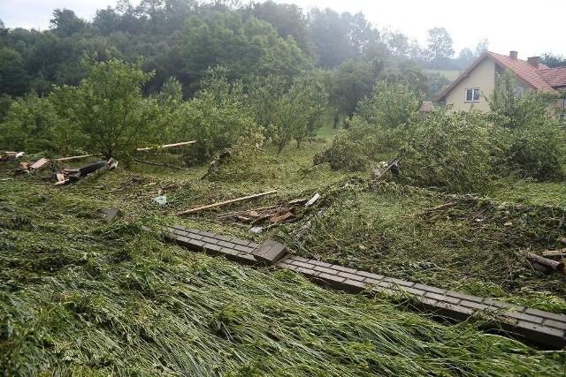Krajobraz po powodzi w Trzcinicy.