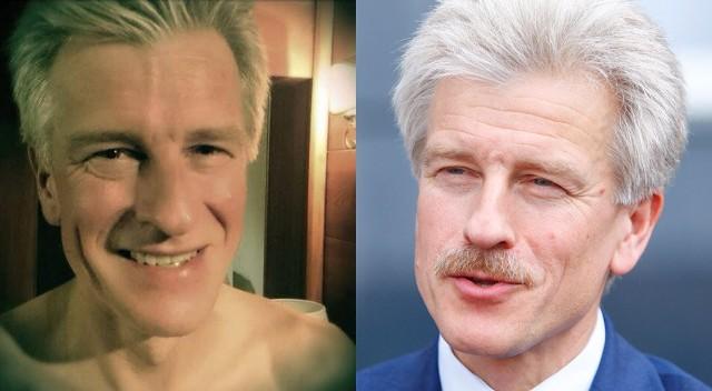 Ryszard Grobelny po zgoleniu wąsów i z wąsami