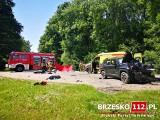 Tragiczny wypadek pod Brzeskiem. Nie żyje motocyklista. Czołowe zderzenie z jeepem