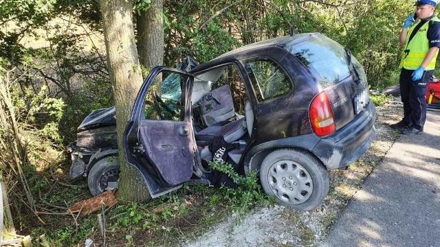 Wypadek na lokalnej drodze Lewin Brzeski - Przecza.