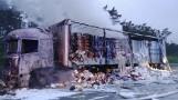 Na drodze ekspresowej S8 w środku nocy spłonęła ciężarówka ZDJĘCIA