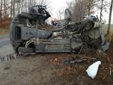 Śmiertelny wypadek w Kaliszu (gm. Dziemiany) 1.04.2018. Samochód BMW uderzył w drzewo na DW 235. Nie żyją dwaj młodzi mężczyźni [zdjęcia]