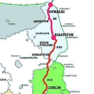 Przebieg drogi ekspresowej Via Carpatia przez Polskę (planowane zakończenie budowy w 2015 r.)