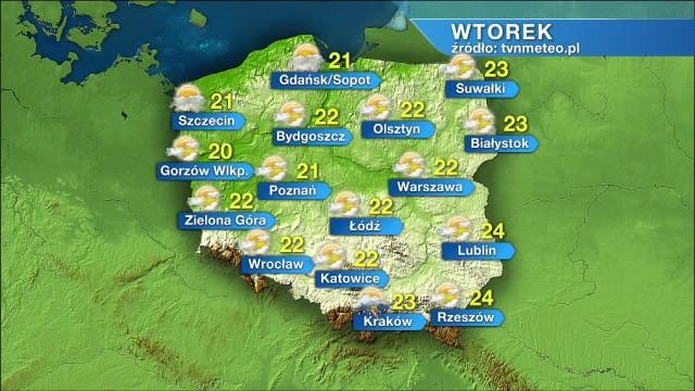 Pogoda na wtorek 20 lipca.