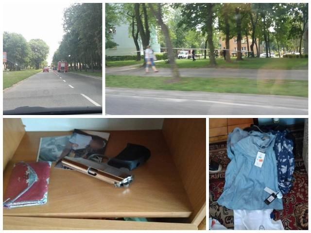 Policyjna obława na osiedlu Młodych w Białymstoku. Strażacy rozstawili skokochron. Zatrzymano trzy osoby