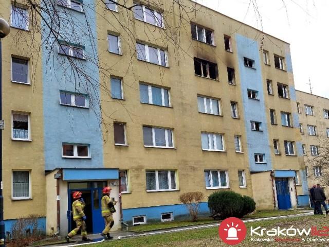 Pożar w bloku na Kurdwanowie