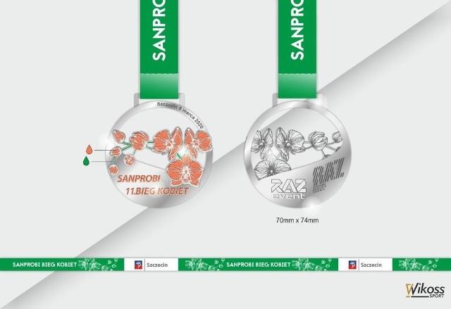 Tak mają wyglądać medale dla uczestniczek Sanprobi Bieg Kobiet 2020.