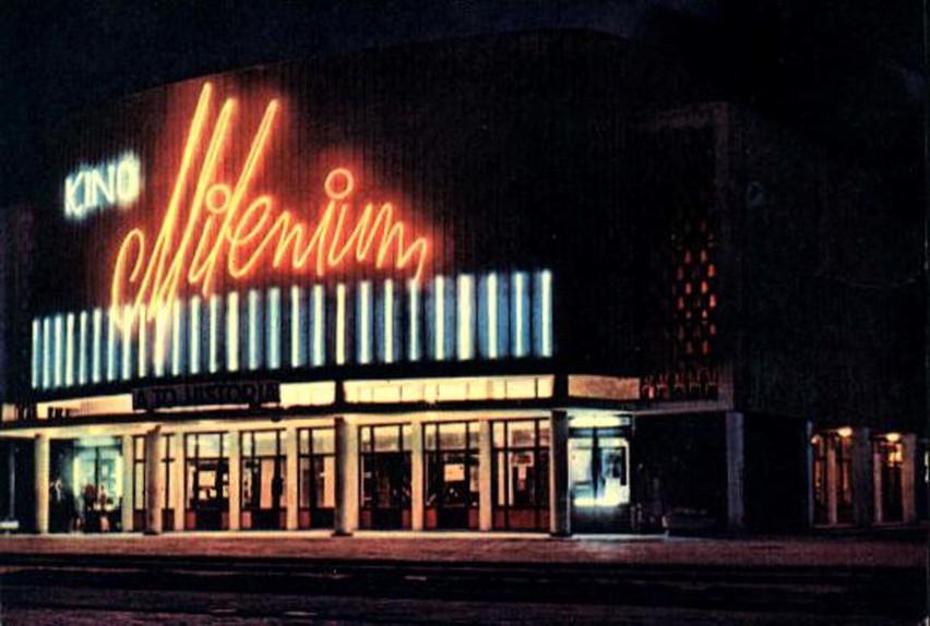 Lata 70. Oświetlenie neonowe kina Milenium
