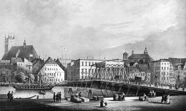 Most Długi około 1857 roku. Tak wyglądał po przebudowie sprzed 200 lat. Autorami  grafiki są J. Gottheil & W. Loeillot.