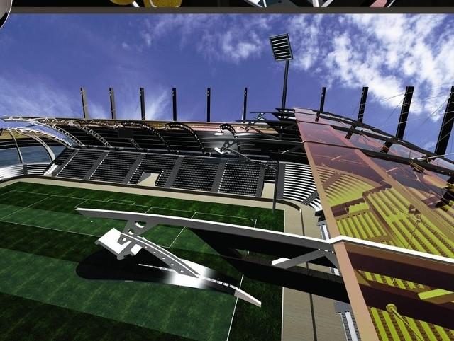 Tak ma wyglądać nowoczesny stadion piłkarski w Stalowej Woli po modernizacji. Prace mają ruszyć jesienią tego roku.
