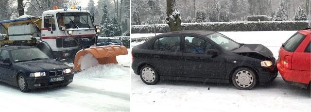 Śnieg spadł w Koszalinie wczoraj przed południem. Na drogach zrobiło się ślisko i niebezpiecznie. Policja poinformowała nas wczoraj o ośmiu stłuczkach.