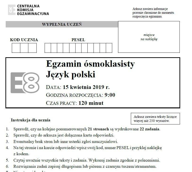 egzamin 8 klasisty chemia